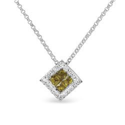 14KT White Gold 0.38ctw Yellow Sapphire and Diamond Pendant with Chain