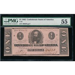 1862 $1 Confederate States of America Note PMG 55