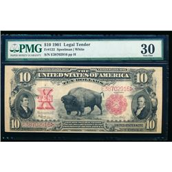 1901 $10 Bison Legal Tender Note PMG 30