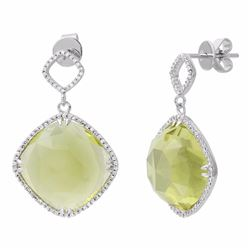 14KT White Gold 24.19ctw Quartz and Diamond Earrings