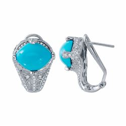14KT White Gold 5.84ctw Turquoise and Diamond Earrings