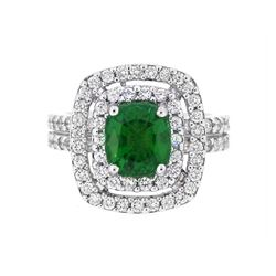 18KT White Gold 2.27ct GIA Cert Tsavorite and Diamond Ring