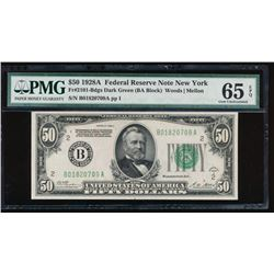 1928A $50 New York Federal Reserve Note PMG 65EPQ
