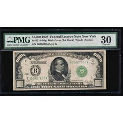1928 $1000 New York Federal Reserve Note PMG 30