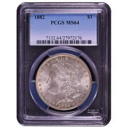 1882 $1 Morgan Silver Dollar Coin PCGS MS64