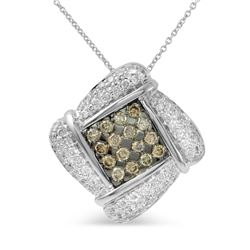 14KT White Gold 1.90ctw Diamond Pendant with Chain