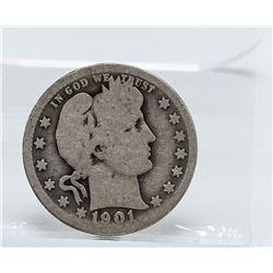 1901-O Barber Quarter Coin
