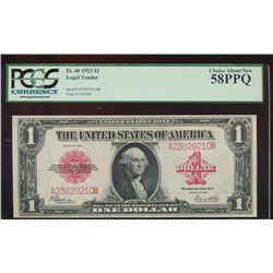 1923 $1 Legal Tender Note PCGS 58PPQ