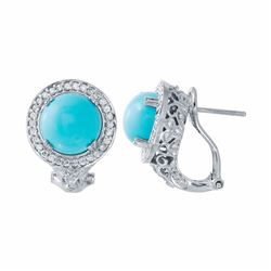 14KT White Gold 4.43ctw Turquoise and Diamond Earrings