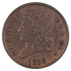 1833 Braided Hair Half Cent