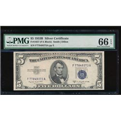1953B $5 Silver Certificate PCGS 66EPQ