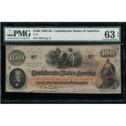1862-63 $100 Confederate States of American Note PMG 63EPQ