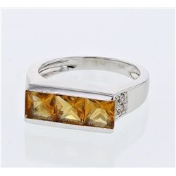14KT White Gold 1.57ctw Citrine and Diamond Ring