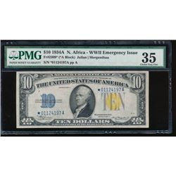 1934A $10 North Africa Silver Certificate PMG 35
