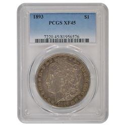 1893 $1 Morgan Silver Dollar Coin PCGS XF-45