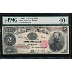 1891 $2 Treasury Note PMG 40NET