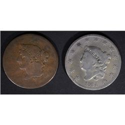 """1834 VG cleaned & 1839 """"BOOBY HEAD"""" G LARGE CENTS"""
