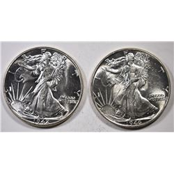 1942 & 1946 WALKING LIBERTY HALF DOLLARS, CH BU