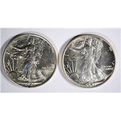 ( 2 ) 1943 WALKING LIBERTY HALF DOLLARS, CH BU