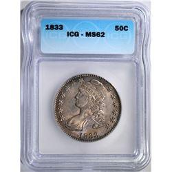 1833 BUST HALF DOLLAR, ICG MS-62
