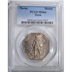 """1925 NORSE """"THICK"""" MEDAL, PCGS MS-64"""