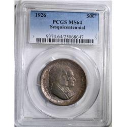 1926 SESQUI COMMEM HALF DOLLAR, PCGS MS-64