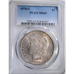 1878-S MORGAN DOLLAR, PCGS MS-65 GEM