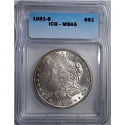 1881-S MORGAN DOLLAR, ICG MS-65 GEM