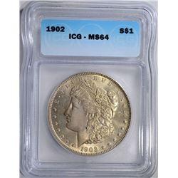 1902 MORGAN DOLLAR, ICG MS-64 NICE!