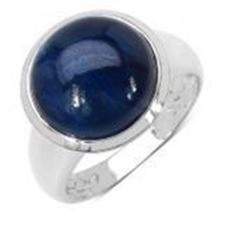 STERLING SILVER CABOCHON SAPPHIRE RING
