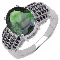 STERLING SILVER CHROME DIOPSIDE AND BLACK SPINEL RING