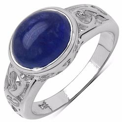 STERLING SILVER AND CABOCHON TANZANITE RING