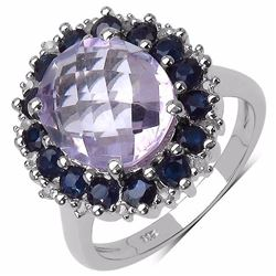 STERLING SILVER PINK AMETHYST AND BLUE SAPPHIRE RING
