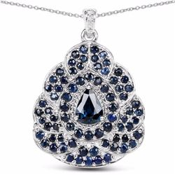 STERLING SILVER AND BLUE SAPPHIRE, DIAMOND PENDANT