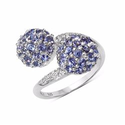 STERLING SILVER TANZANITE BYPASS RING