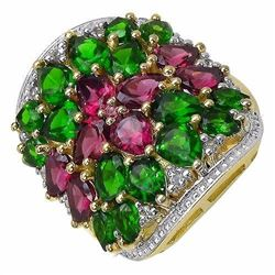 STERLING SILVER RHODOLITE AND CHROME DIOPSIDE RING