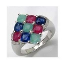 STERLING SILVER EMERALD ,RUBY AND SAPPHIRE RING