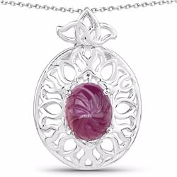 STERLING SILVER INDIAN RUBY CARVIN CABOCHON PENDNAT