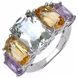 STERLING SILVER GREEN AMETHYST AND GOLDEN CITRINE RING