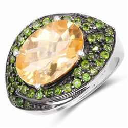 STERLING SILVER CHECKERBOARD CITRINE AND CHROME DIOPSIDE RING