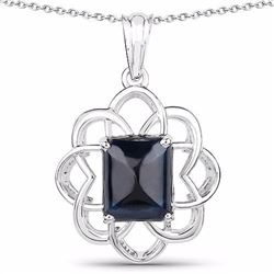Sterling Silver Blue Sapphire Pendant