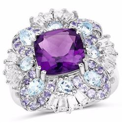 Sterling Silver African Amethyst, Blue Topaz and Tanzanite Ring