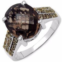 Sterling Silver Smoky Quartz and Yellow Diamond Ring
