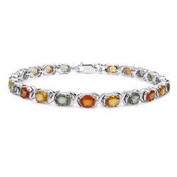 Sterling Silver Multi Color Sapphire Bracelet