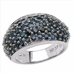 Sterling Silver Blue Sapphire Dome Ring