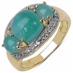Sterling Silver Cabochon Sakota Emerald Ring