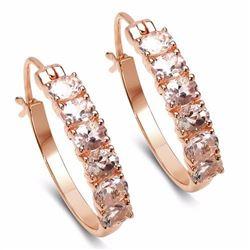 Sterling Silver Morganite Hoop Earrings