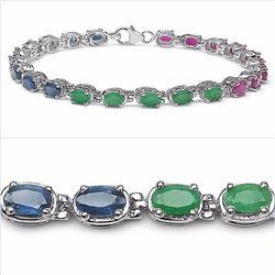 Sterling Silver Sapphire, Ruby, Emerald Bracelet