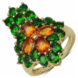 Sterling Silver Madeira Citrine and Chrome-Diopside Ring