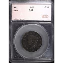 1831 LARGE CENT N-12, SEGS FINE